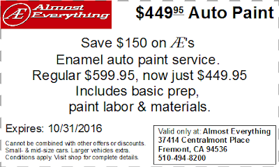 Coupon $449.95 Auto Paint Sale October 2016