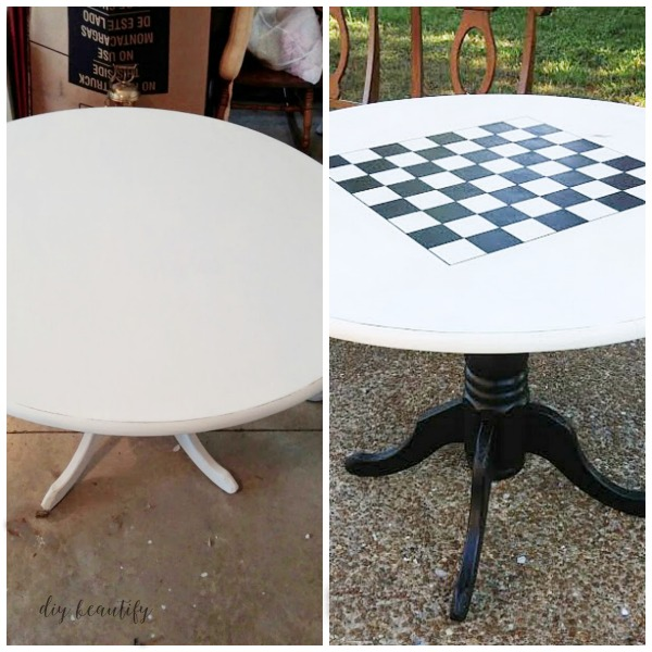 chalky painted checkerboard game table before and after