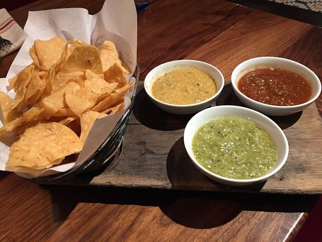 Fresh chips and salsa trio at Nada