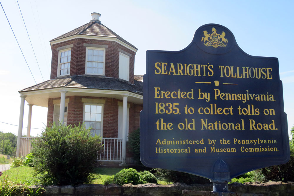 Sign at historic Pennsylvania tollbooth.