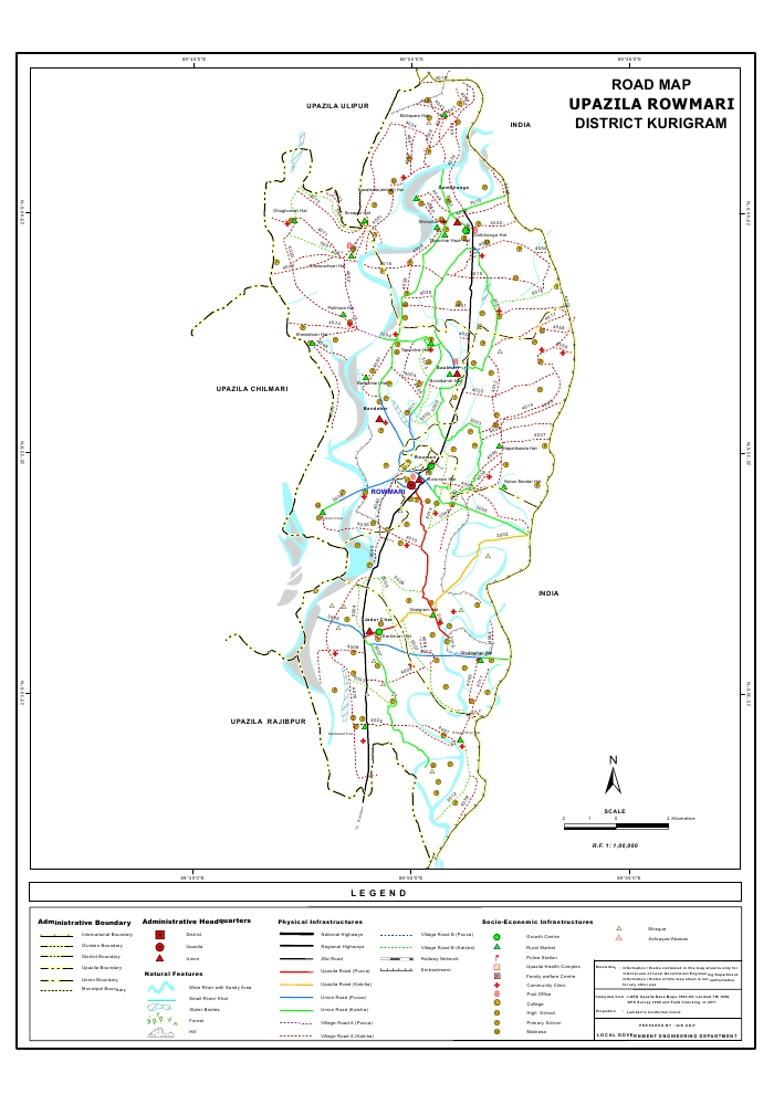 Rowmari Upazila Road Map Kurigram District Bangladesh