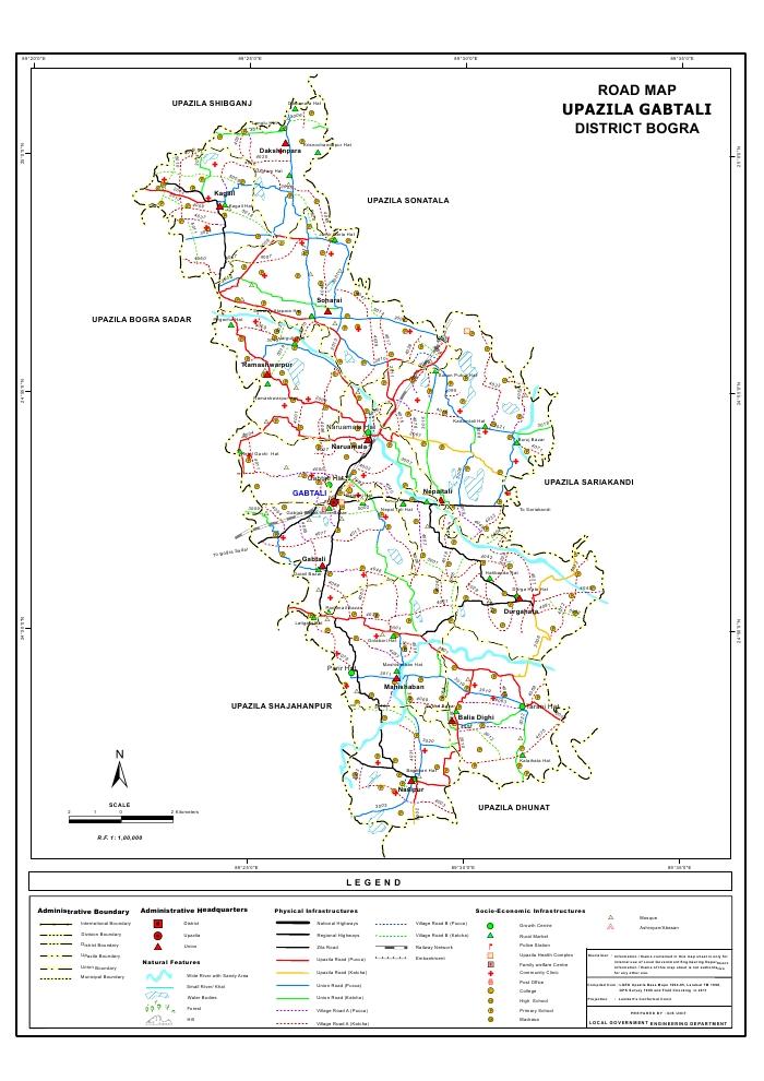 Gabtali Upazila Road Map Bogra District Bangladesh
