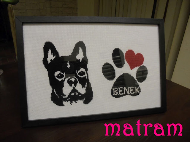 cross stitch french buldog