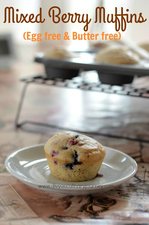 Mixed Berry Muffins- Egg free, Eggless Berry Muffins