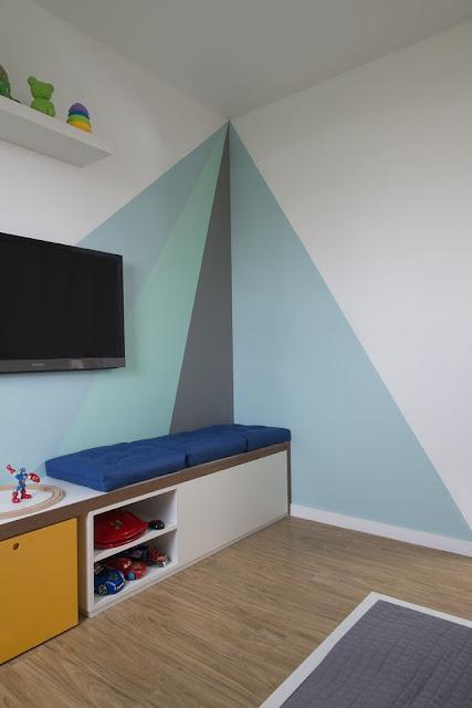 decoração-economica-quarto-menin0-pintura--geometrica-na-parede