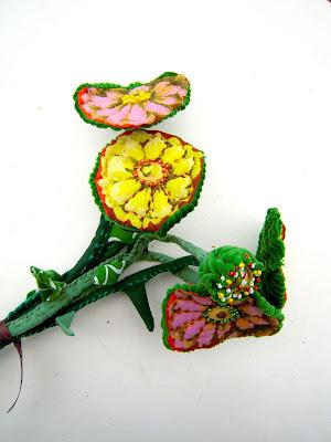 fleurs en tissu zinnias art textile