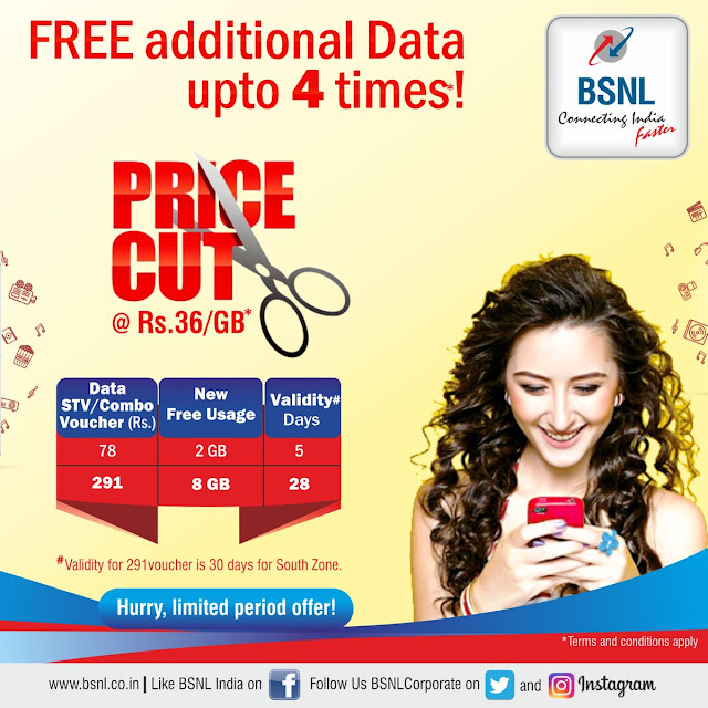 BSNL now offers 8 GB 3G data on STV 291 and 2 GB 3G data on STV 78
