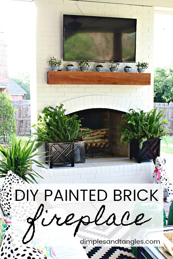 painted brick tutorial, outdoor fireplace, painting exterior brick