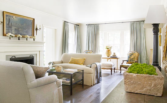 Traditional decor in beautiful living room with interior design by Eleanor Cummings
