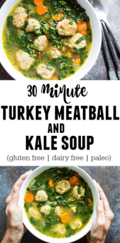 30 MINUTE TURKEY MEATBALL AND KALE SOUP