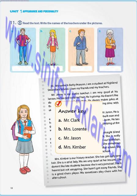 7. Sınıf İngilizce Pantera Yayınları Ders Kitabı Cevapları Sayfa 12