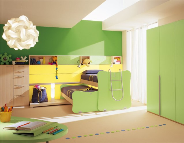 Desain Kamar Tidur Anak Perempuan Minimalis Warna Hijau
