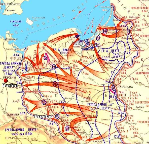 Mapa soviético que mostra a posição das forças em Março de 1945.