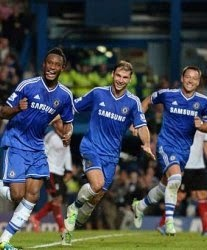 Mikel Obi scores his first Premier League goal.