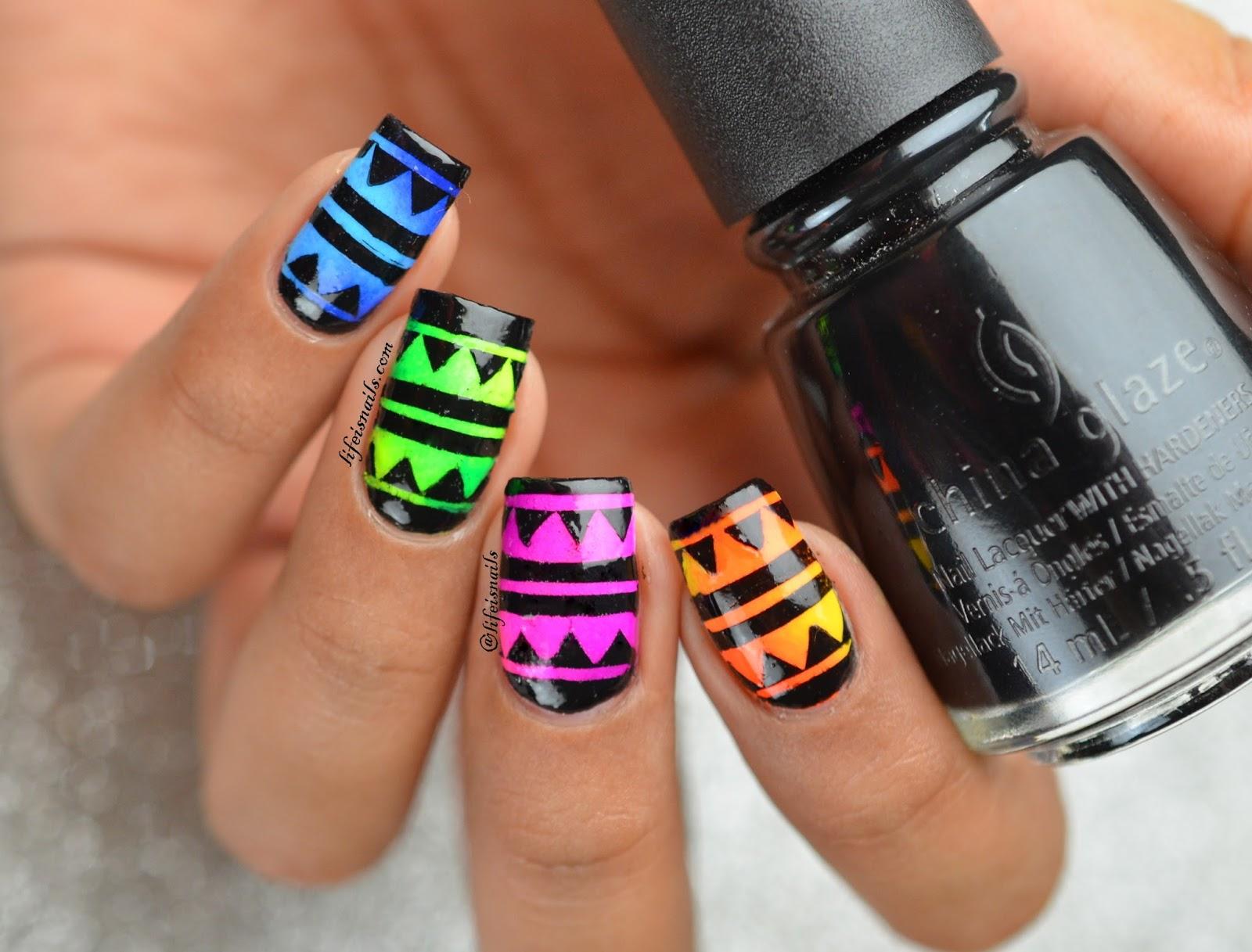 Bright Summer Aztec Nail Art ~ Lifeisnails