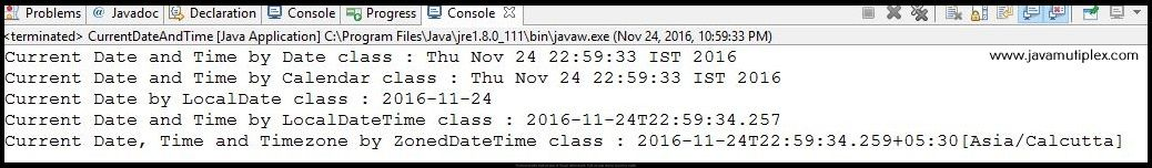 Output of Java program how to print current date and time.