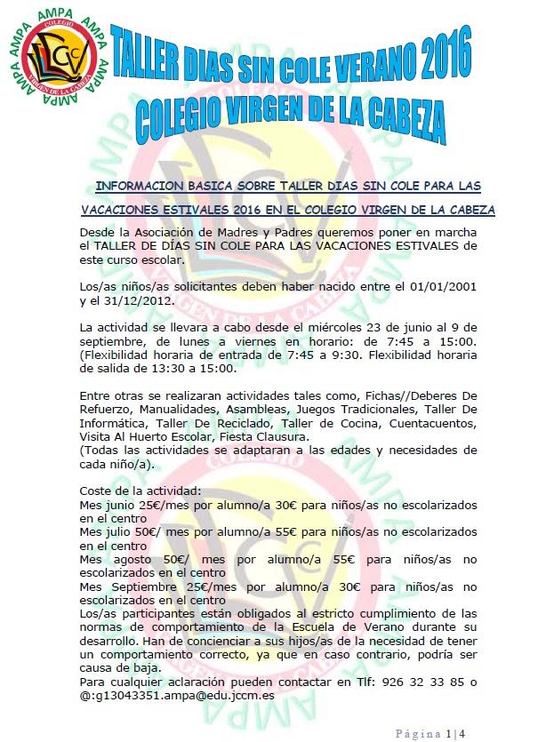 AMPA VIRGEN DE LA CABEZA: SOLICITUD TALLER DIAS SIN COLE VACACIONES ...