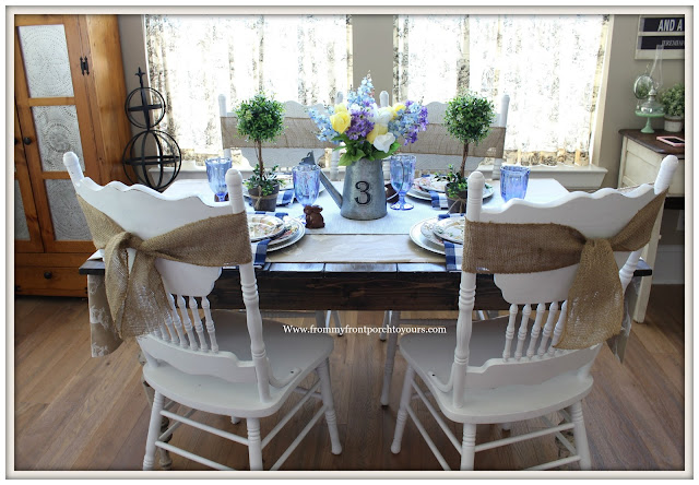 Spring-Easter-Tablescape-Cottage-Farmhouse-Breakfast Nook-Blue-White-Tablescape-From My Front Porch To Yours