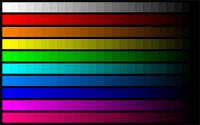 Çeşitli renklerden oluşan renk skalası