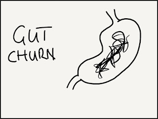 "hand drawn picture of a stomach with some scribbles in it accompanies by the words ""gut churn"""