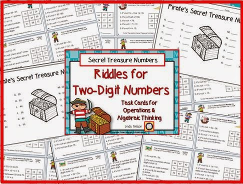 http://www.teacherspayteachers.com/Product/Riddles-for-Two-Digit-Numbers-Pirates-Secret-Treasure-Numbers-1426881