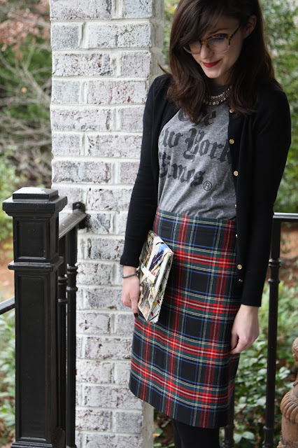 tartan, t-shirt, red lips, patterns, Zoe Report Box of Style