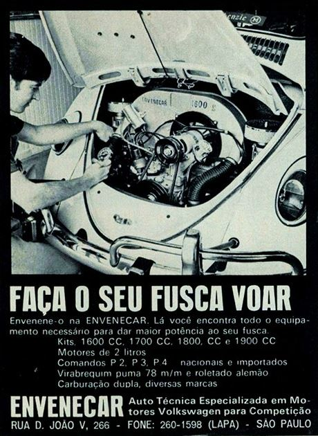 Propaganda da oficina Envenecar que prometia aumentar a potência do motor do Fusca.