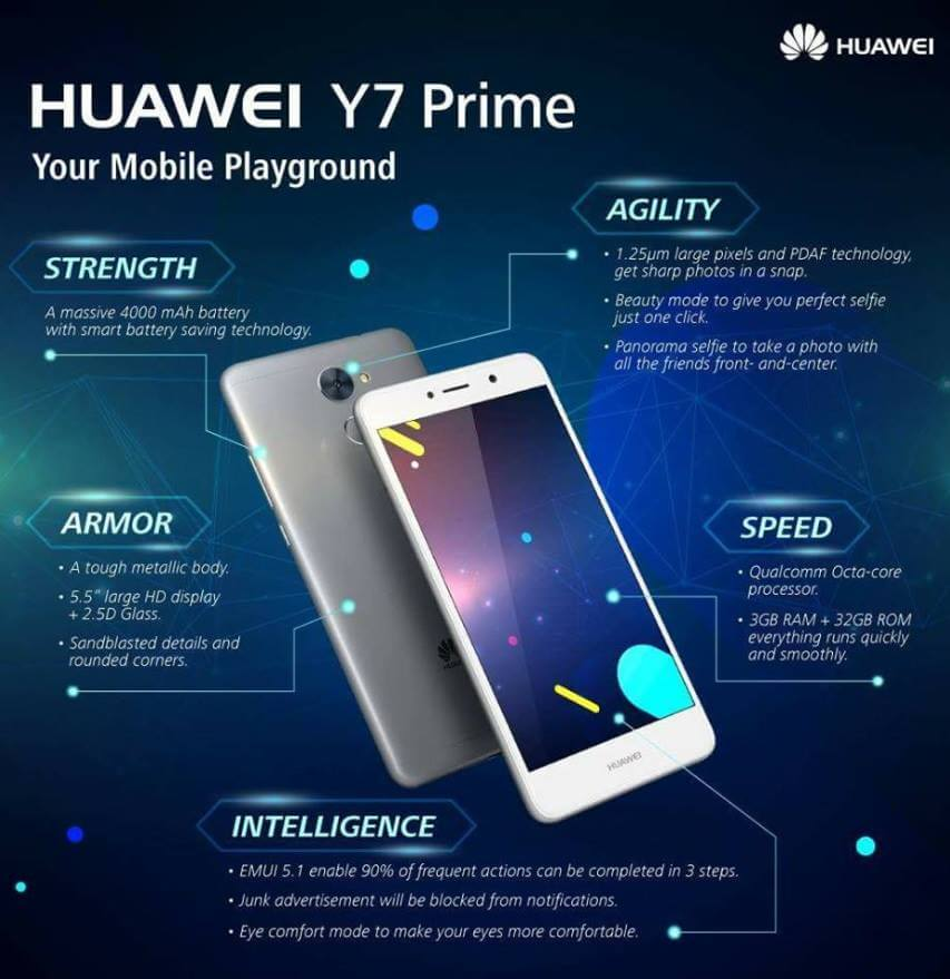 Huawei Y7 Prime Now in the Philippines for Php9,990; Octa Core Android Nougat with 4000mAh Battery