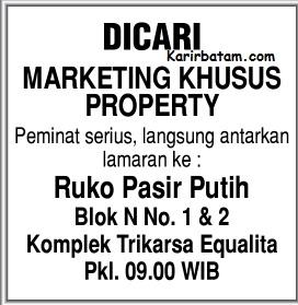 Lowongan Kerja Marketing Property Pasir Putih
