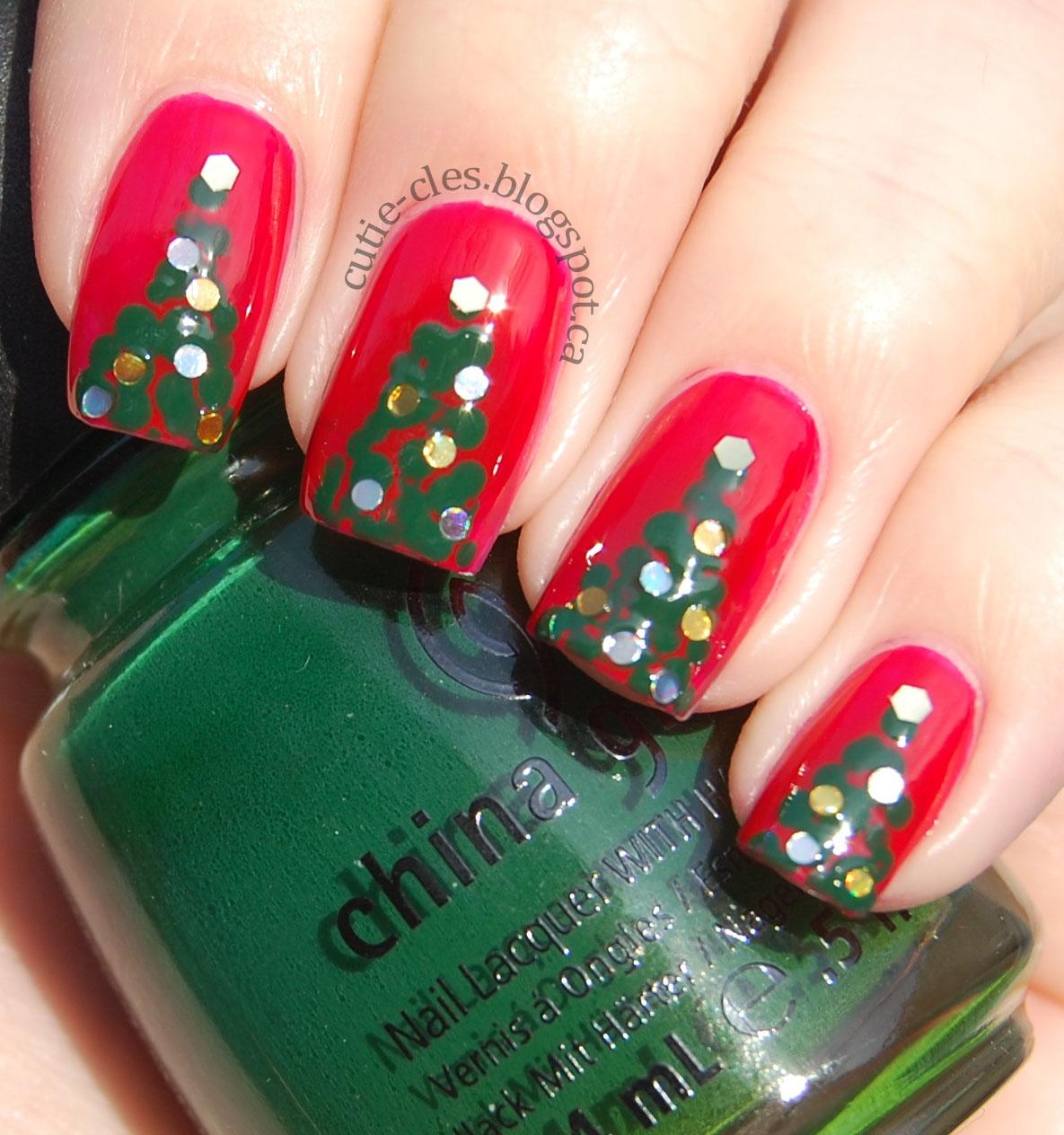 Christmas Tree Nail Art: Paleberry: Christmas Tree Nails