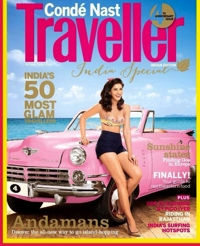 Nargis Fakhri on 4th Anniversary Special edition cover of Conde Nast Traveller, India