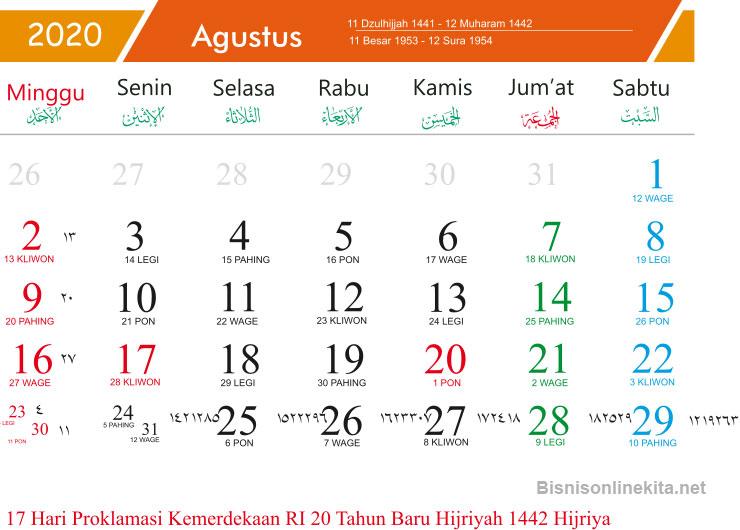 kalender 2020 agustus