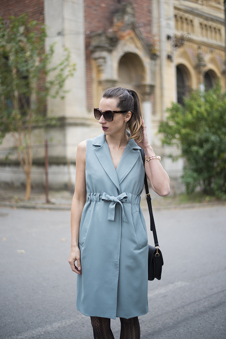 Skinny Buddha teal twinset trench coat vest