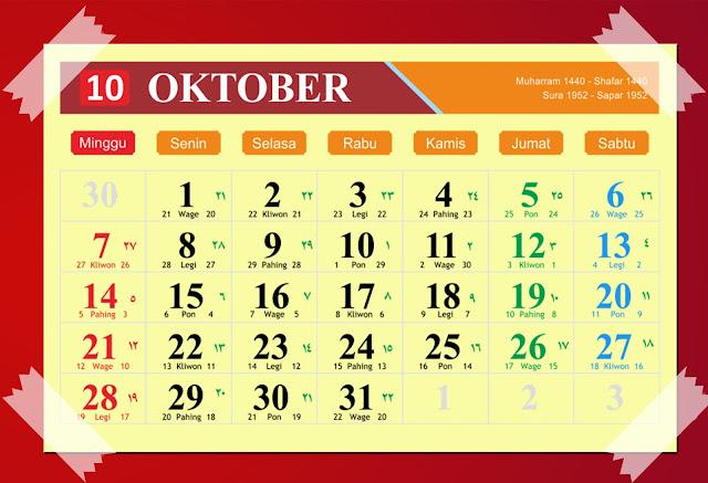 Download Kalender Oktober 2018 Hijriyah Jawa Dan Pasaran