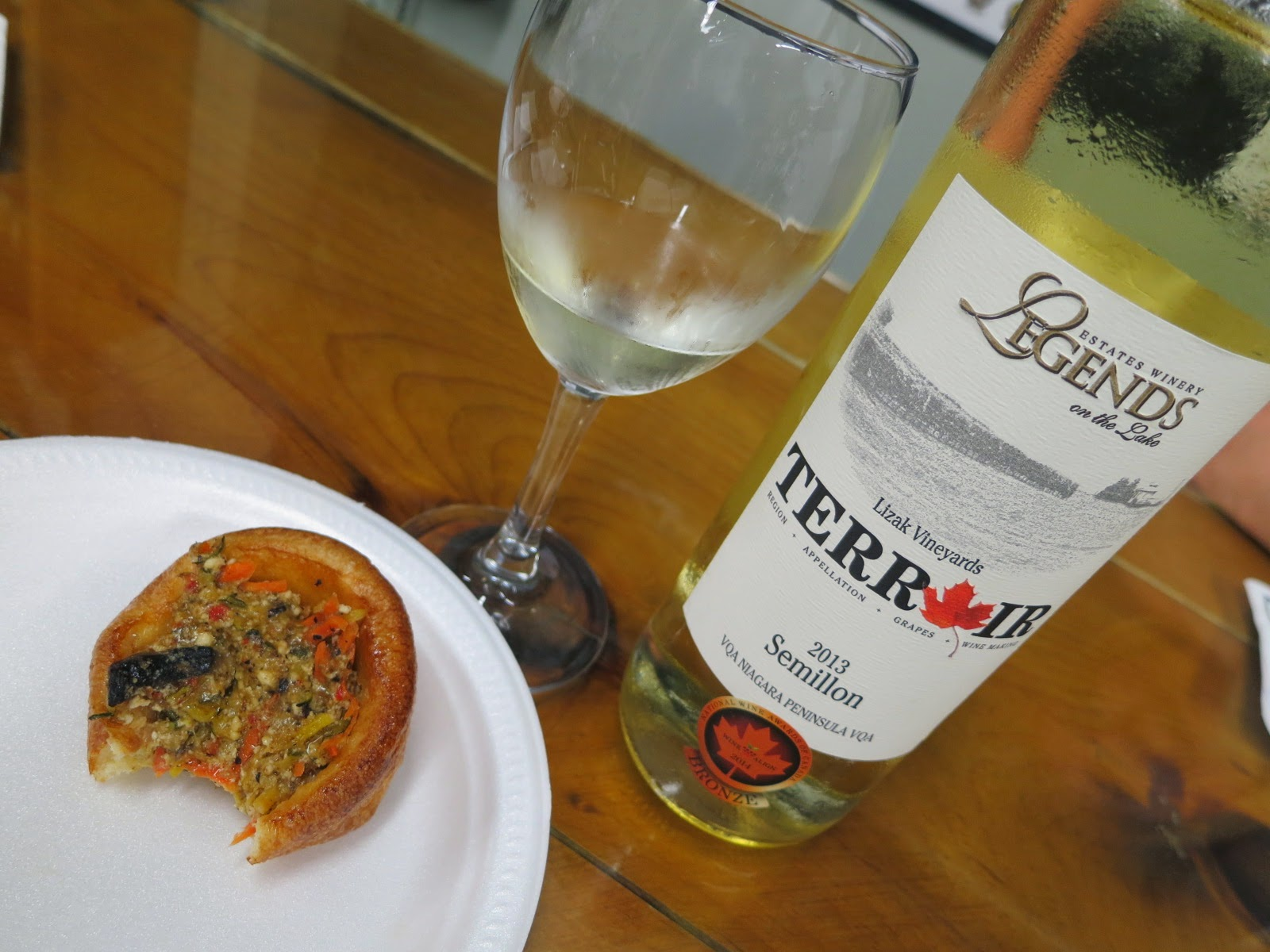 Enjoying vegetable lasagna cupcakes tops with 2010 Legends Estates Semillon from Lizak Vineyard. VQA Niagara Peninsula