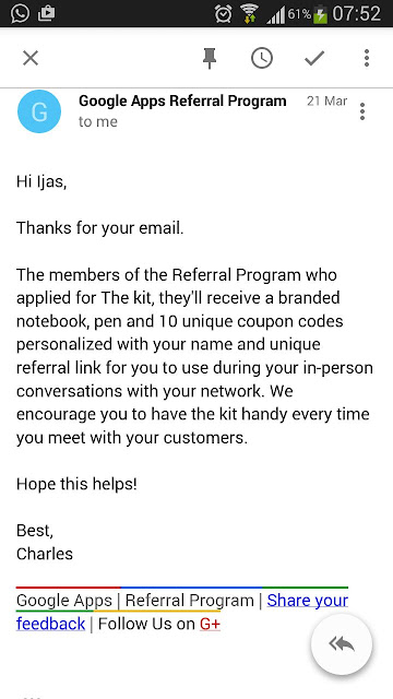 Email from Google Apps Referral Programme