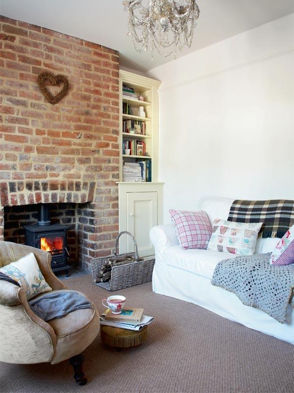 Bare brick fireplace!