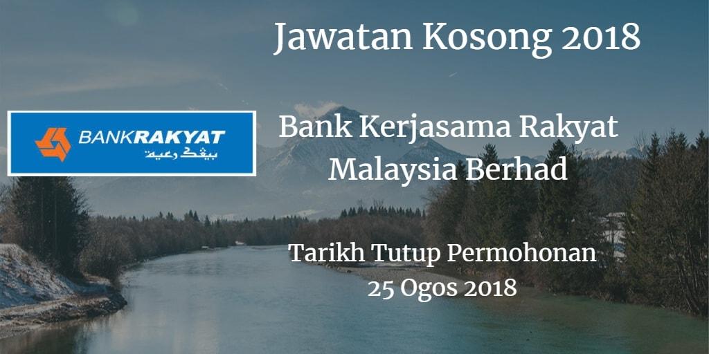 Jawatan Kosong Bank Kerjasama Rakyat Malaysia Berhad 25 Ogos 2018
