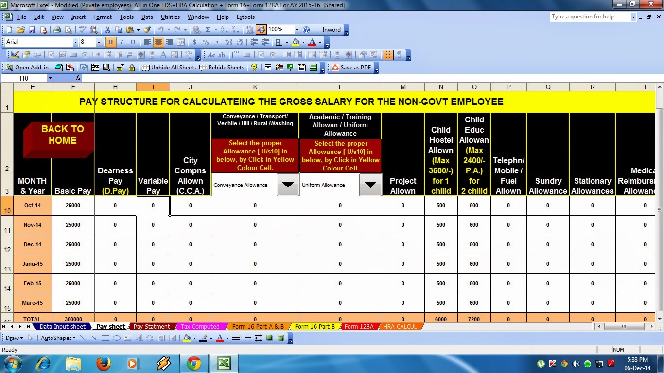 Tax Preparation Excel Based Software For Non Govt Employees Fy 15 Tax Compute Salary