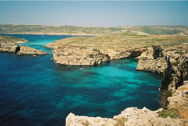 view of the Blue Lagoon, comino, malta