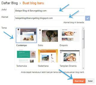 Pilih Template Blog