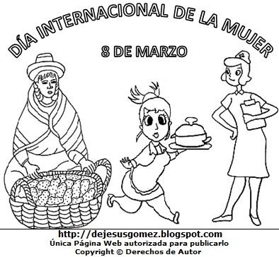 Ilustración del Día Internacional de la Mujer para niños para pintar e imprimir. Dibujo del Día de la Mujer de Jesus Gómez