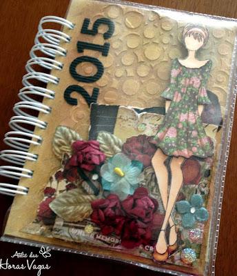 agenda permanente personalizada artesanal textura delicada mixed media