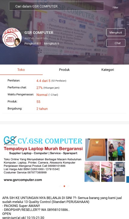 Profile Toko Laptop GSR Computer di Platform Marketplace Shopee.