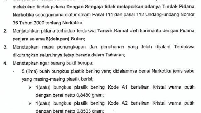 Apa-apaan Ini, Seharusnya 20 Tahun, Kurir 4 Kg Sabu di Palembang Hanya Dibui 8 Bulan !