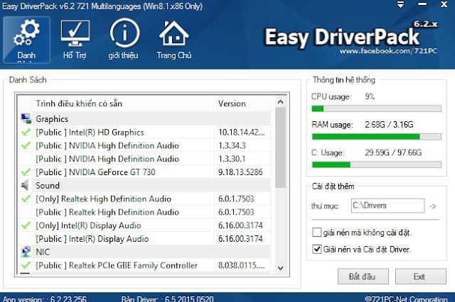Download Driver win 8,10 tự động bằng Easy DriverPack