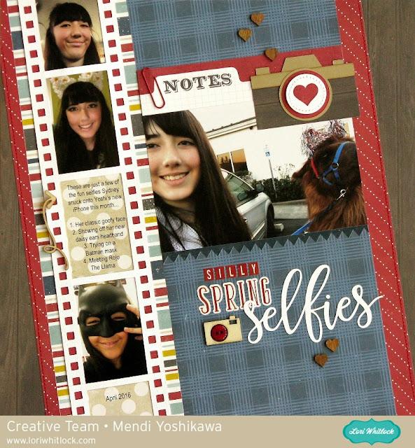 Echo Park Petticoats & Pinstripes Selfie Layout by Mendi Yoshikawa