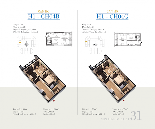 mặt bằng căn H1 - CH04B - CH04C sunshine garden
