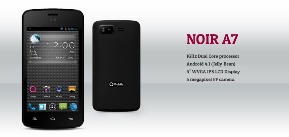 qmobile launches noir a7 with jelly bean price and. Black Bedroom Furniture Sets. Home Design Ideas