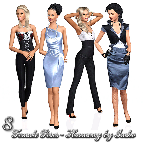 8 Female Poses Harmony by IMHO Sims+3,+imho,+poses